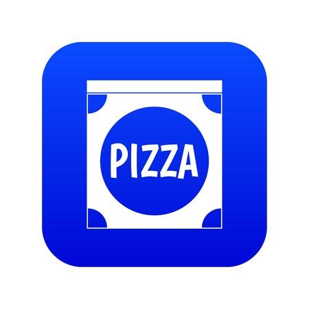 Pizza box cover icon digital blue Illustration