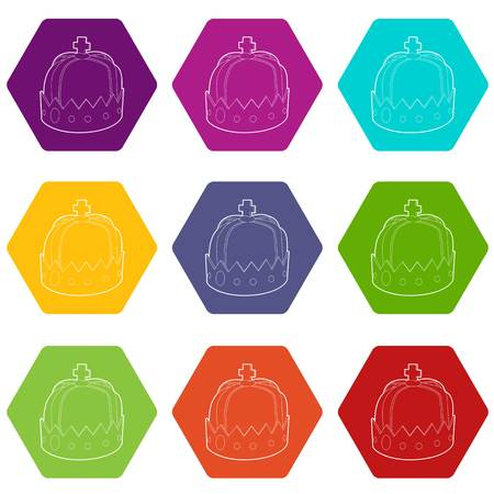Crown icons set 9 vector