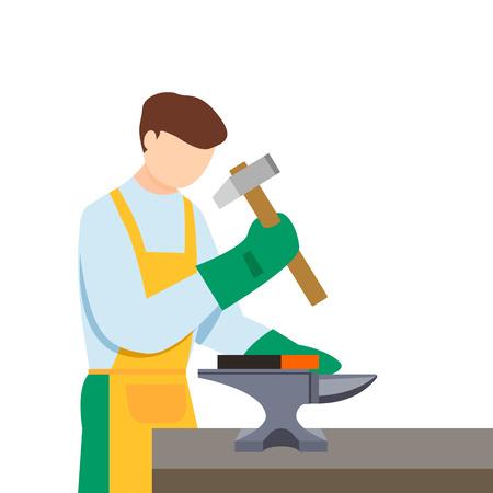 Boy anvil blacksmith icon, flat style Illustration
