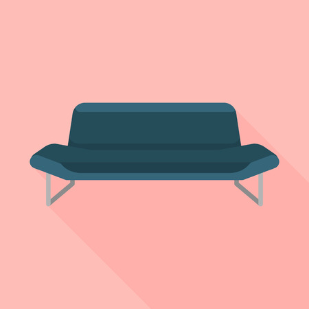 Black sofa icon. Flat illustration of black sofa vector icon for web design