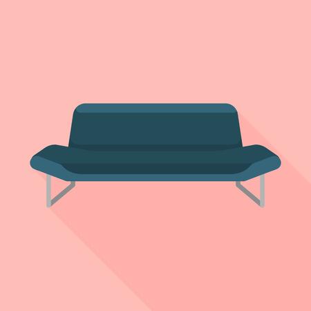 Black sofa icon. Flat illustration of black sofa vector icon for web design