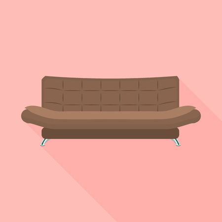 Brown leather sofa icon. Flat illustration of brown leather sofa vector icon for web design