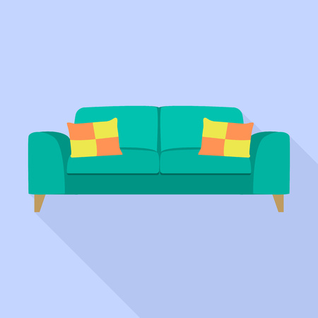 Soft sofa icon. Flat illustration of soft sofa vector icon for web design