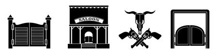Saloon icon set, simple style Illustration