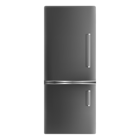 Black fridge icon. Realistic illustration of black fridge vector icon for web design