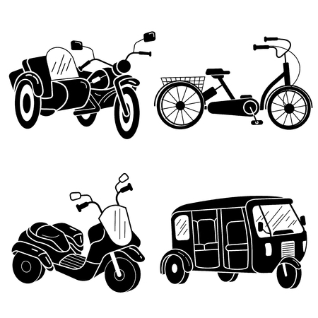 Tricycle icon set, simple style