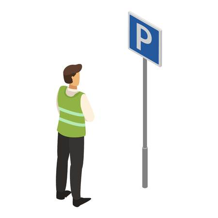 Valet man sign icon. Isometric of valet man sign vector icon for web design isolated on white background