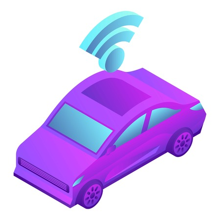 Smart car icon, isometric style