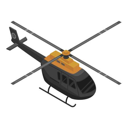 Black helicopter icon. Isometric of black helicopter vector icon for web design isolated on white background