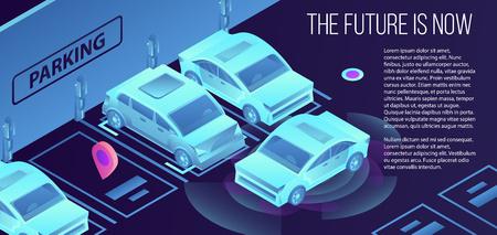 Future smart parking banner. Isometric illustration of future smart parking vector banner for web design Ilustração Vetorial