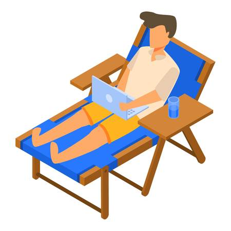 Freelancer on deck chair icon. Isometric of freelancer on deck chair vector icon for web design isolated on white background