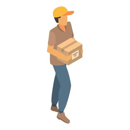Man delivery box icon. Isometric of man delivery box vector icon for web design isolated on white background