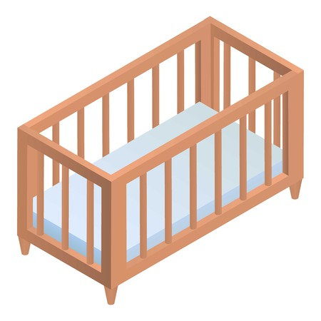 Crib icon. Isometric of crib vector icon for web design isolated on white background