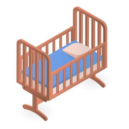 Babybett-Symbol. Isometrische der Babykrippe-Vektorikone für das Webdesign lokalisiert auf weißem Hintergrund