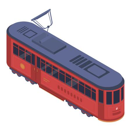 Classic tram car icon. Isometric of classic tram car vector icon for web design isolated on white background