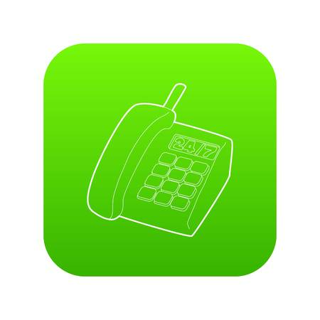 Support phone icon green vector