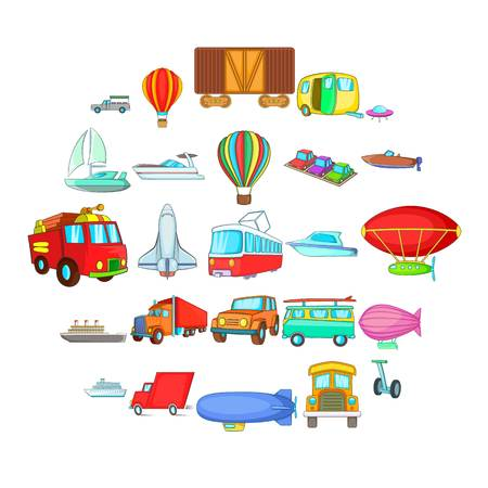 Getting around the world icons set. Cartoon set of 25 getting around the world vector icons for web isolated on white background