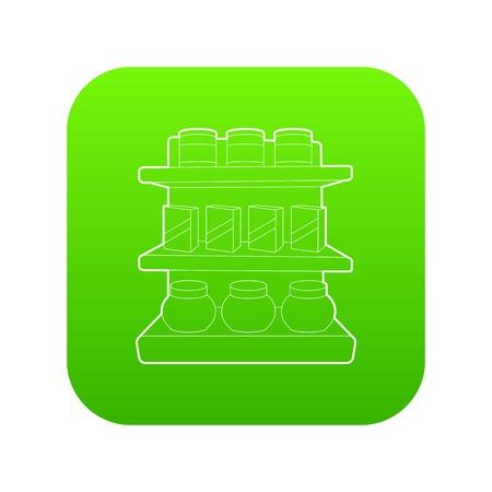 Shop shelves icon green vector