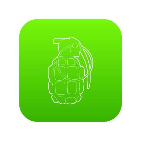 Hand grenade icon green vector