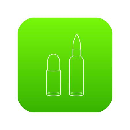 Cartridge icon green vector isolated on white background
