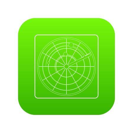 Radar icon green vector Illustration