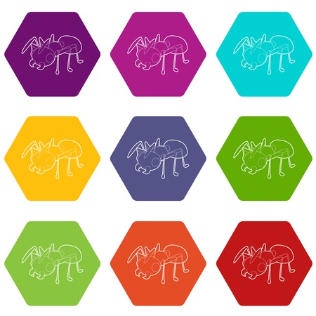 Ant icons set 9 vector