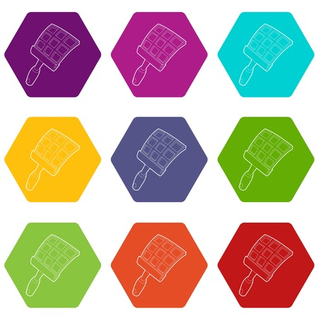 Swatter icons set 9 vector Illustration