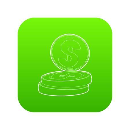 Coins icon green vector Illustration