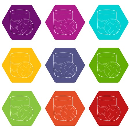 Closed database icons set 9 vector