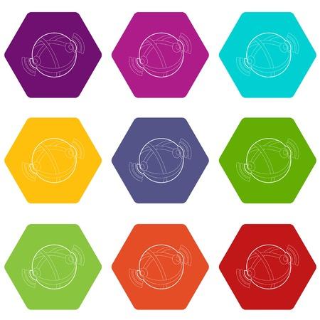 Globe database icons set 9 vector