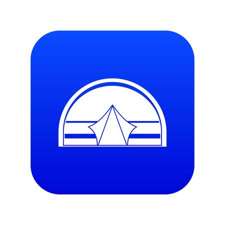 Semicircular tent icon digital blue for any design isolated on white vector illustration