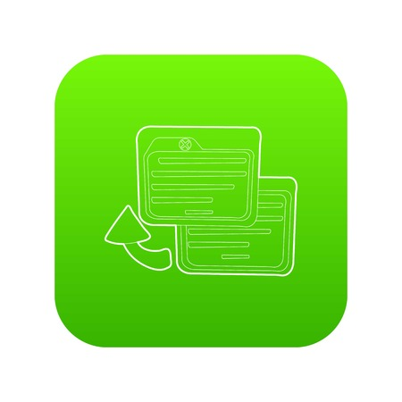 Business card icon green vector