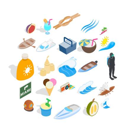 Cozy beach icons set. Isometric set of 25 cozy beach vector icons for web isolated on white background