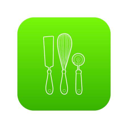 Kitchenware icon green vector