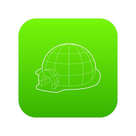 Igloo icon green vector Illustration