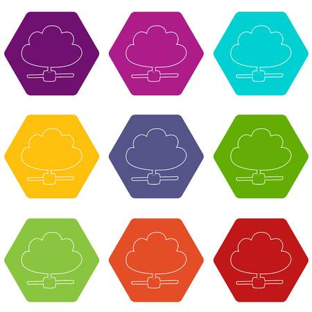 Cloud database icons set 9 vector