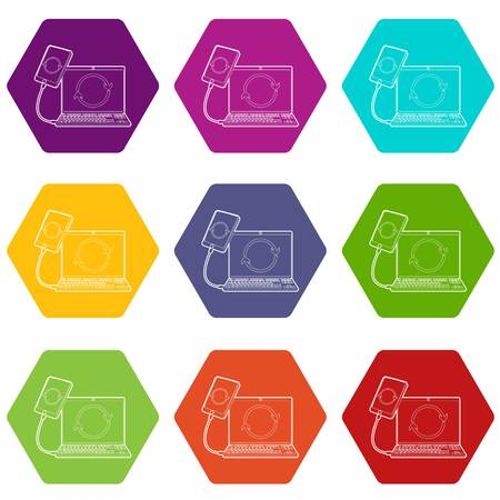 Gadgets synchronized operation icons 9 set coloful isolated on white for web Illustration