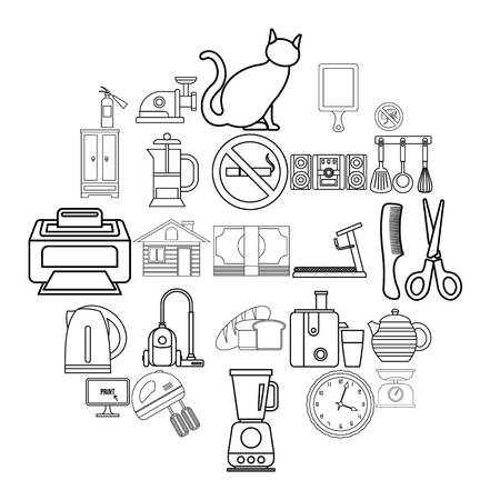 Comfortable icons set. Outline set of 25 comfortable vector icons for web isolated on white background