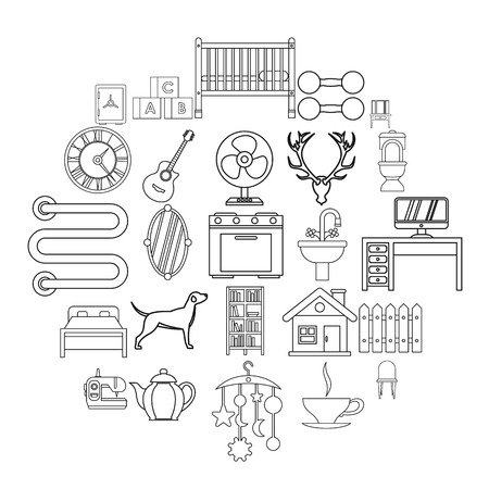 Cozy home icons set. Outline set of 25 cozy home vector icons for web isolated on white background