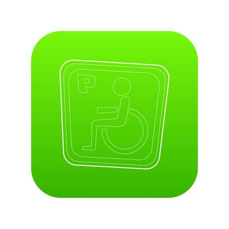 Handicap parking or wheelchair parking icon green vector isolated on white background