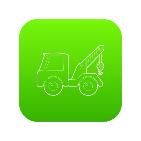 Car towing truck icon green vector isolated on white background