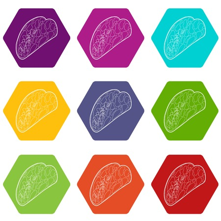 Kebab icons 9 set coloful isolated on white for web