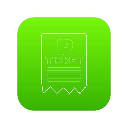 Biglietto di parcheggio icona vettore verde isolato su sfondo bianco