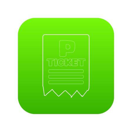 Parking ticket icon green vector isolated on white background Vettoriali
