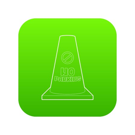 No parking cone icon green vector isolated on white background Illustration