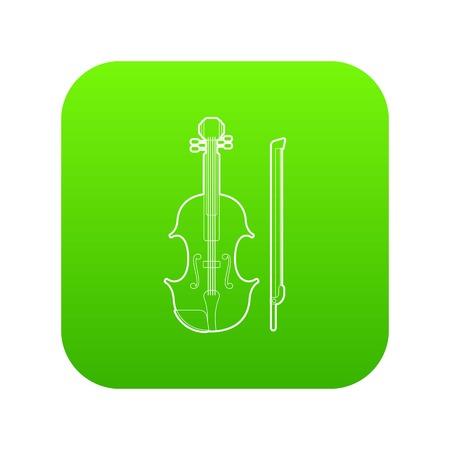 Contrabass icon green vector