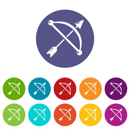 Medieval bow and arrow icons set vector color