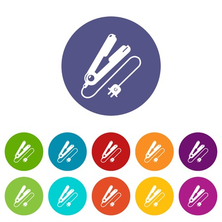 Hair straightener icons color set vector for any web design on white background