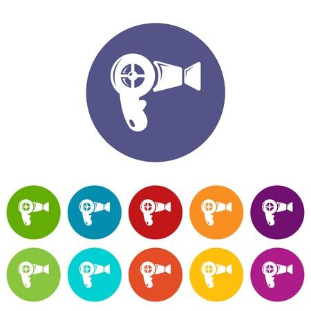 Kolor ikony suszarki do włosów wektor zestaw dla każdego projektu strony internetowej na białym tle