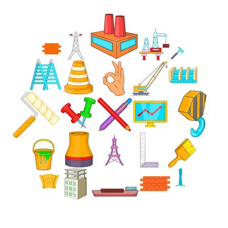Construction building icons set, cartoon style Vectores